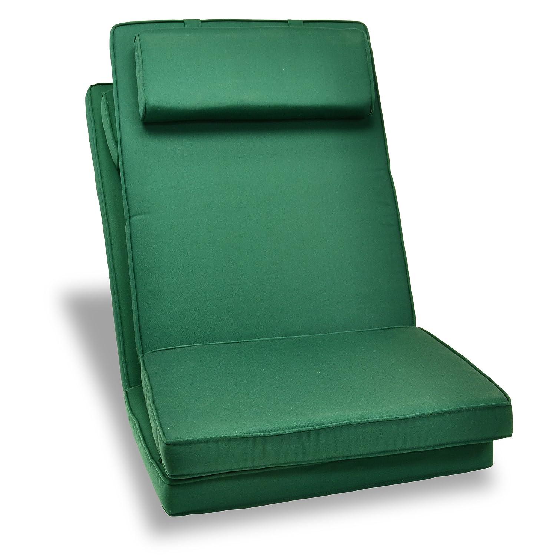 Nexos GL06003_SL2 DIVERO hochwertiges 2-er Set Sitzauflagen Auflage Polster für Hochlehner Gartenstuhl Gartensessel Klappstuhl in dunkelgrün, grün