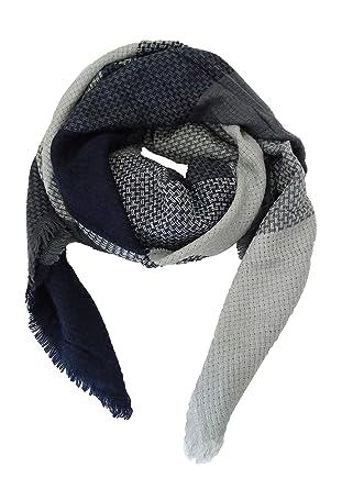 JINPENG imitation Cachemire en treillis écharpe châle épaississement carré  épais - Bleu Gris- 3cc0a1e6894
