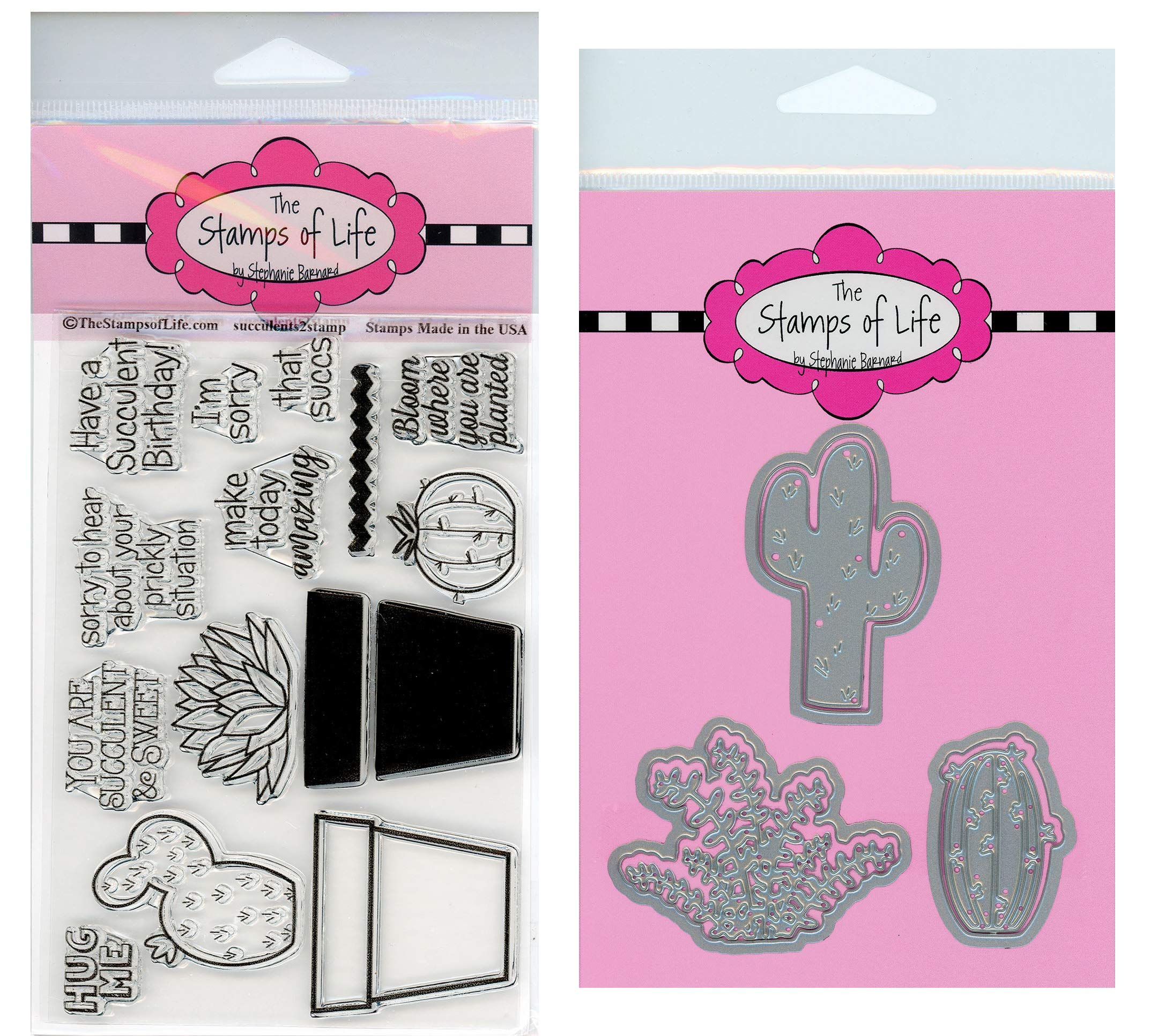 Fun Cactus Plants Succulents Stamps and Dies for Scrapbooking and Card-Making by The Stamps of Life - Succulents2Stamp and Succulents Two Die-Cuts