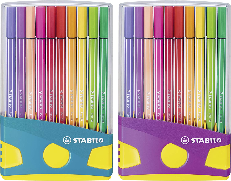 Premium Filzstift Stabilo Pen 68 Colorparade 20er Tischset In Türkis Lila Mit 20 Verschiedenen Farben Bürobedarf Schreibwaren