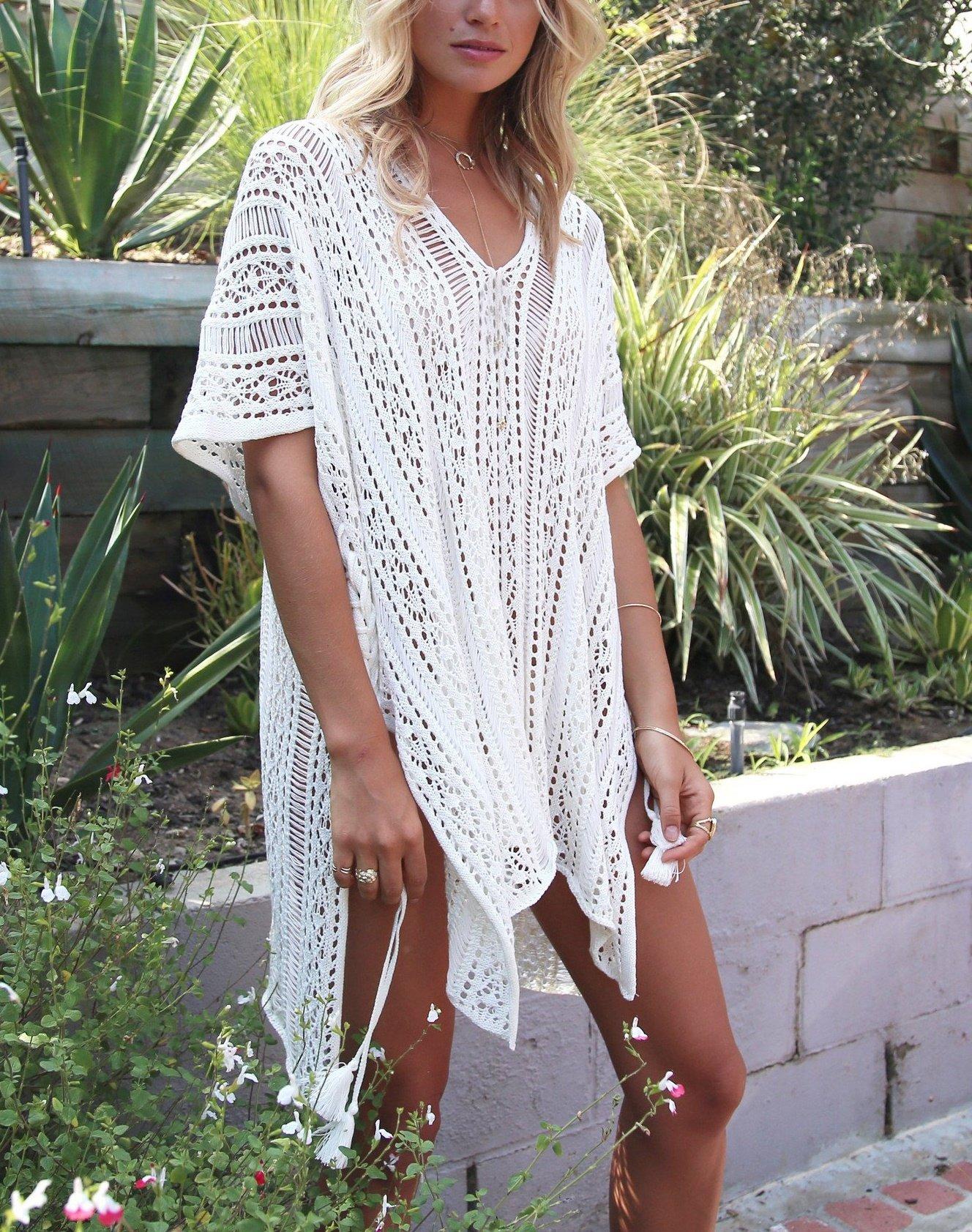 Lealac Women's Summer Cotton Bathing Suit Cover Up Beach Bikini Swimsuit Swimwear Crochet Dress Gift For Women LXF13 White by LeaLac (Image #3)