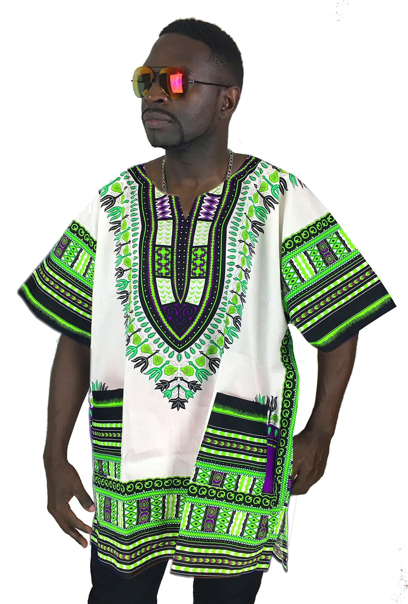 Vipada's Dashiki Shirt African Top Men's Dashiki White with Green 3XL