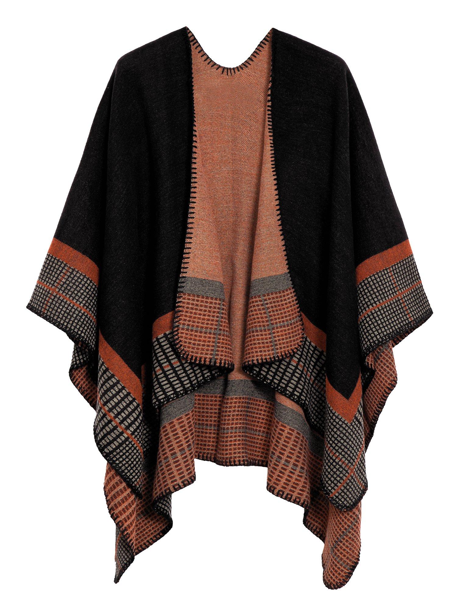 Urban CoCo Women's Color Block Shawl Wrap Open Front Poncho Cape (Series 20-Black)