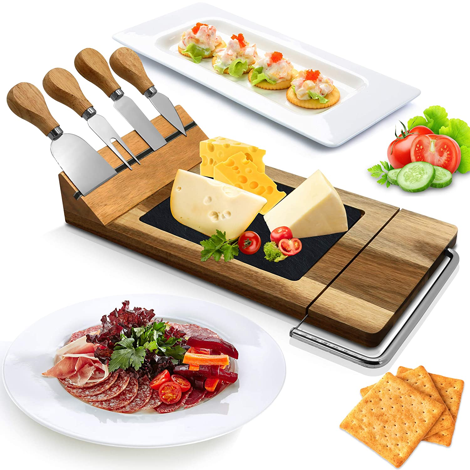 Bamboo Cheese Board Serving Set - Modern Rectangle Wood Cheese Platter Tray w/ Stone Slab Plate, Stainless Steel Knives, Magnet Holder, Slicer Blade for Cutting Food, Fruit, Meat - NutriChef PKCZBD50
