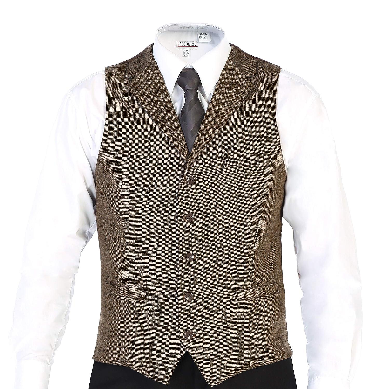 Gioberti Mens 5 Button Tailored Collar Formal Tweed Suit Vest