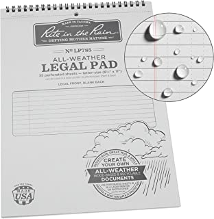 """product image for Rite in the Rain Weatherproof Legal Pad, 8 1/2"""" x 11"""", Gray Cover, Legal Pattern (No. LP785)"""