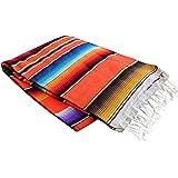Del Mex Mexican Serape Blanket (Large, Orange)