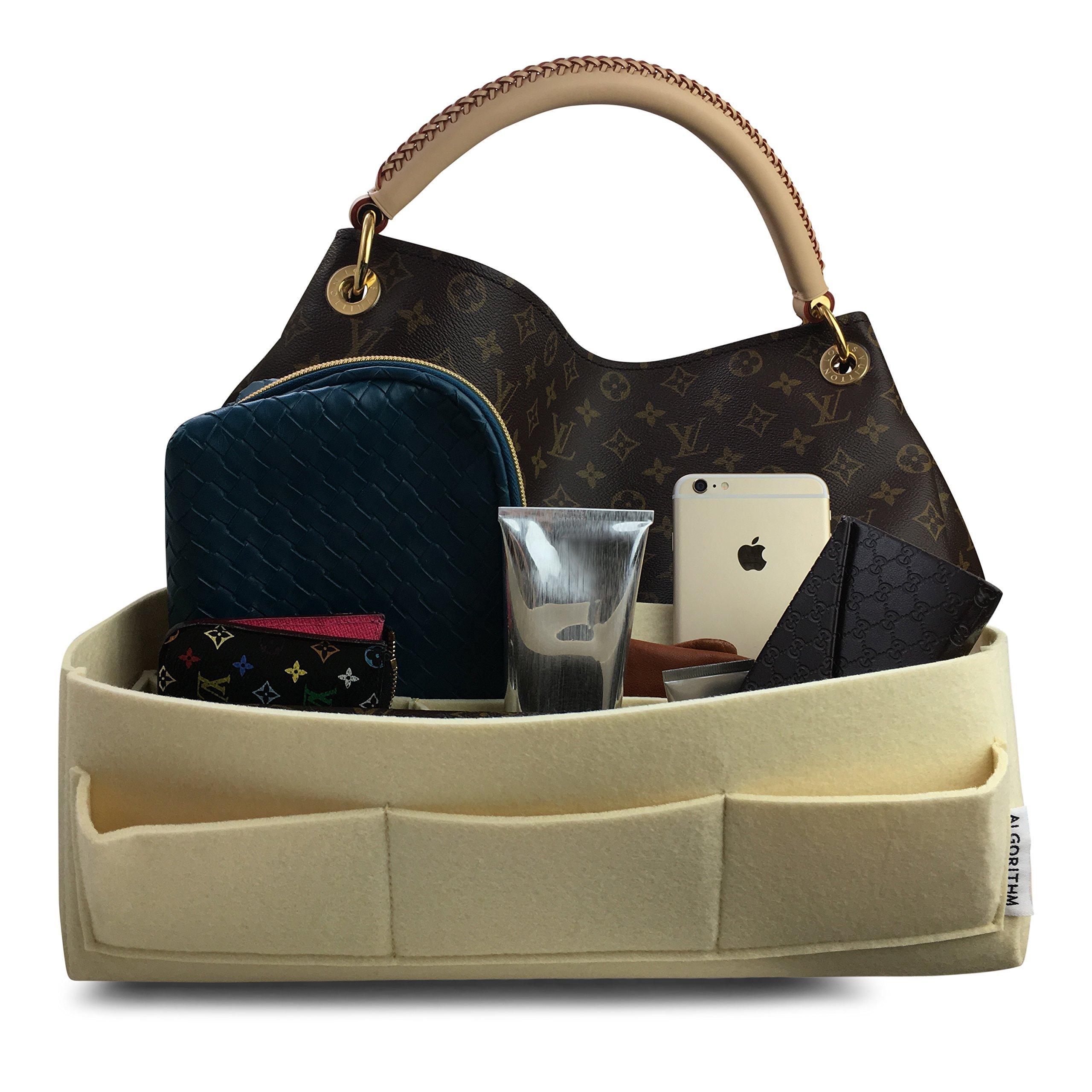 Artsy MM Organizer LV Purse Insert - by AlgorithmBags for Handbag, Beige, 11 Pockets, 2.5mm Felt