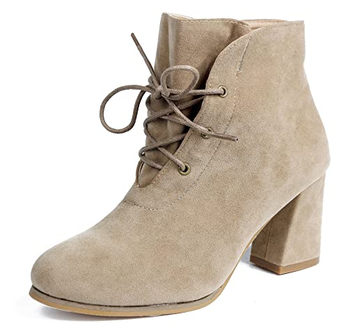 AgeeMi Shoes Mujer Suede Sólido Cordones Tacón Ancho Caña Baja Botas,EuX28 Albaricoque 41: Amazon.es: Zapatos y complementos