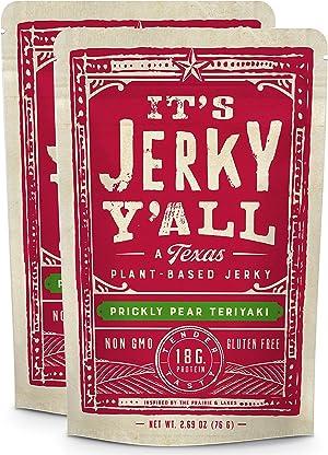 Vegan Jerky TERIYAKI - High Protein, Low Carb, Non-GMO, Gluten-Free, Vegetarian, Whole30 (2-Pack)