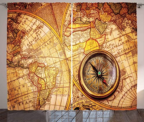 Ambesonne Antique Curtains, Compass on an World Map Historic Borders Century-Old Antiquity Theme, Living Room Bedroom Window Drapes 2 Panel Set, 108 X 84 , Yellow Orange