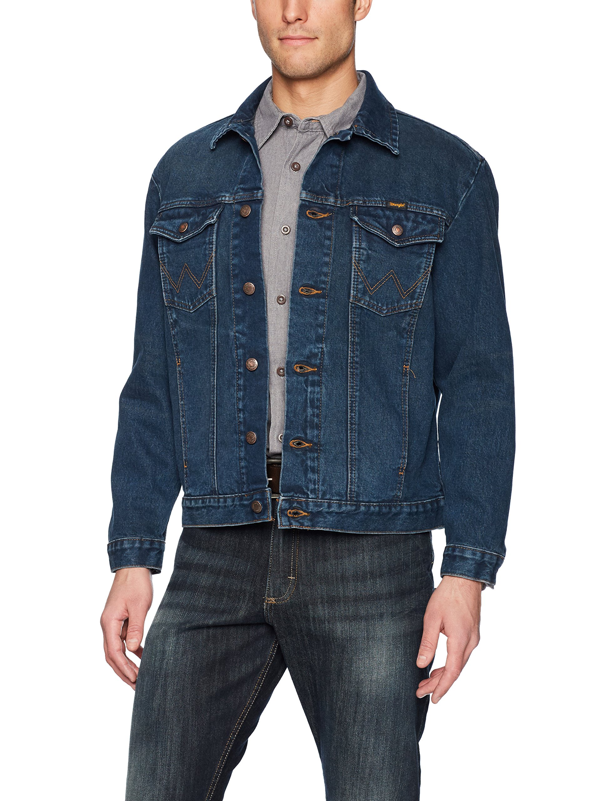 Wrangler Men's Western Style Denim Jacket, Dark Blue, L