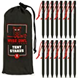 Wise Owl Outfitters Tent Stakes 7075 Heavy Duty Aluminum Metal Ground Pegs - 16 Pack to Stake Down A Tarp and Tents…