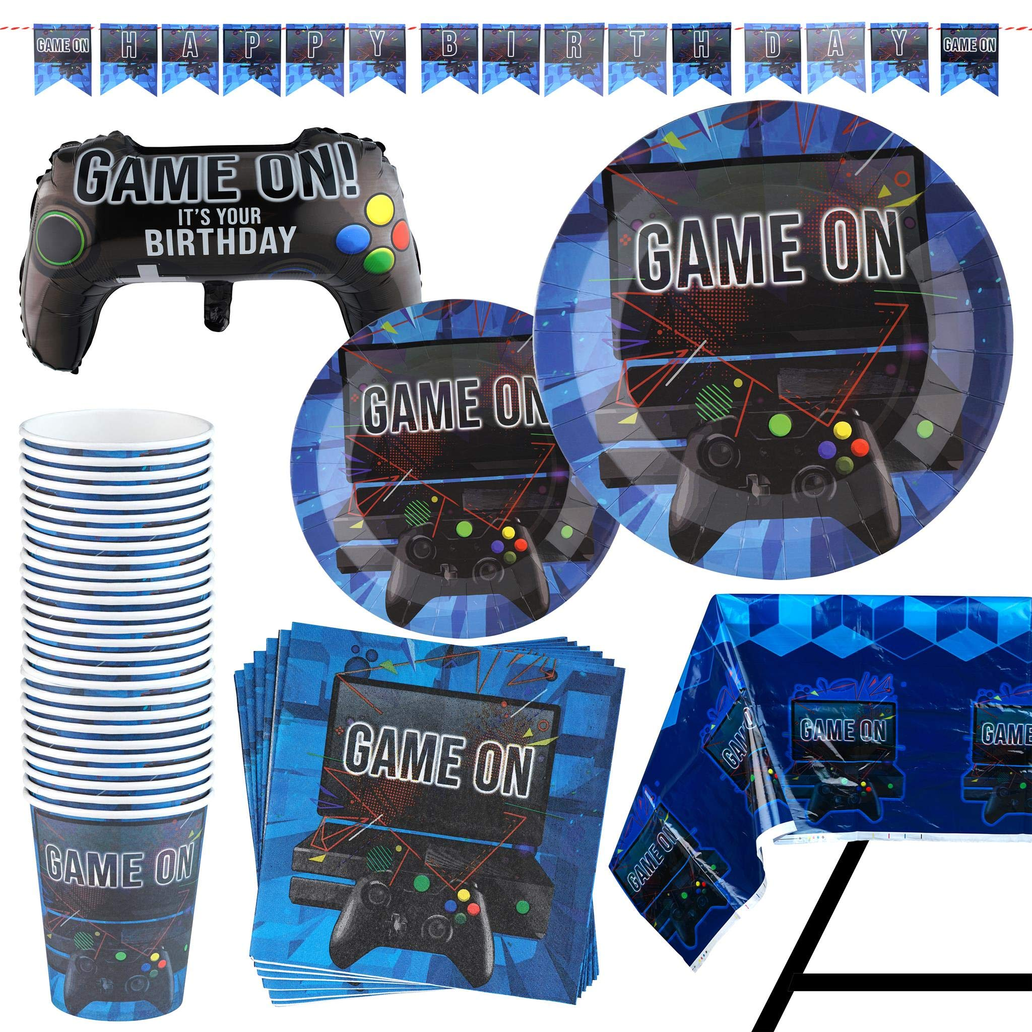 83 Piece Video Gaming Party Supplies Set Including Banner, Plates, Cups, Napkins, Tablecloth, X-Large Joy Stick Controller Balloon - Serves 20 by Scale Rank