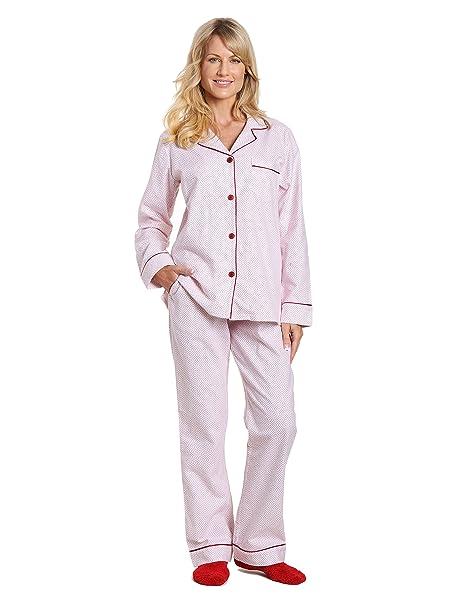 Noble Mount – PREMIUM 100% algodón franela pijama pijamas Set - Rojo -