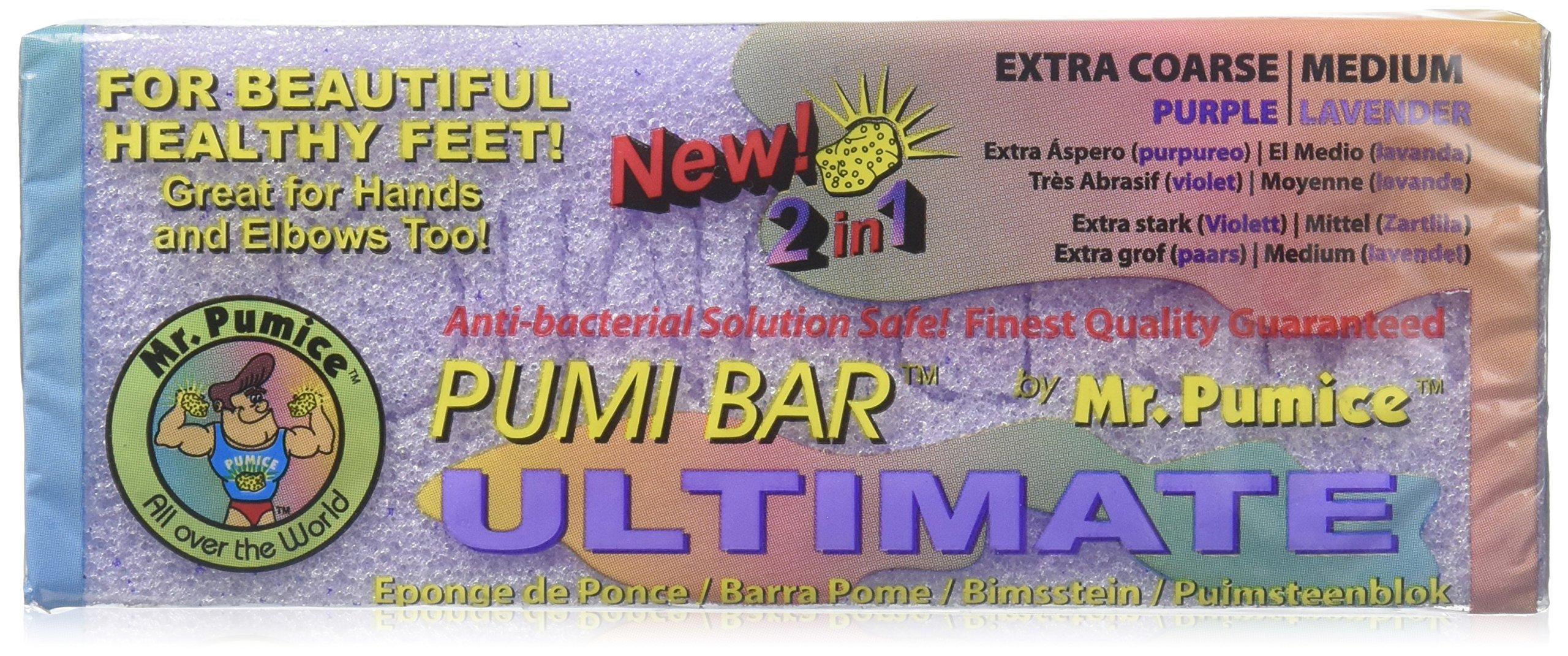 Mr. Pumice Ultimate Pumi Bar 2 in 1 (Coarse/Medium), Lavender/Purple, 1 piece