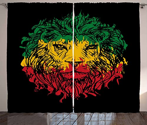 Ambesonne Rasta Curtains, Ethiopian Flag Colors on Grunge Sketchy Lion Head with Black Backdrop, Living Room Bedroom Window Drapes 2 Panel Set, 108 X 90 , Lime Green