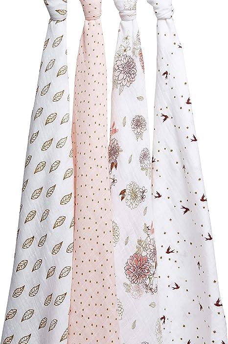 Aden+Anais 100/% Cotton Muslin 4 Pk Baby Infant Swaddle Burp Cloth Stroller Cover