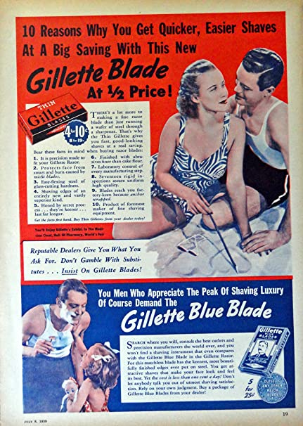 Reproduction. Thin Gillette Vintage magazine advert poster Wall art