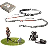 CBCpet Hands Free Dog Leash for Running/Walking/Hiking with Strong Dual Handle Bungees for Dogs up to 150 lb. with Double Leash Feature, Premium Adjustable Waist Belt & Poop Bags Dispenser