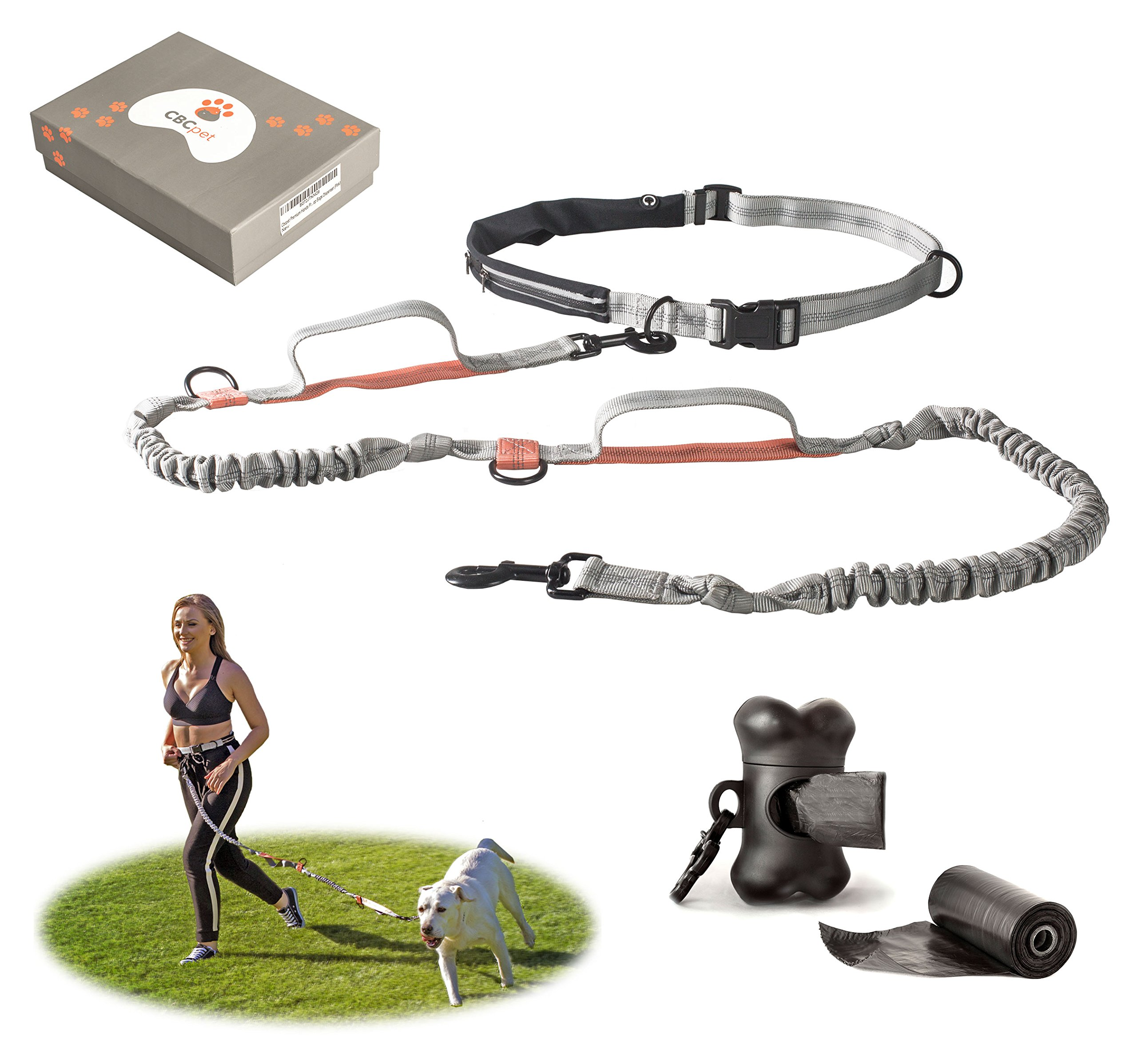 CBCpet Hands Free Dog Leash for Running/Walking/ Hiking with Strong Dual Handle Bungees for Dogs up to 150 lb. with Double Leash Feature, Premium Adjustable Waist Belt & Poop Bags Dispenser