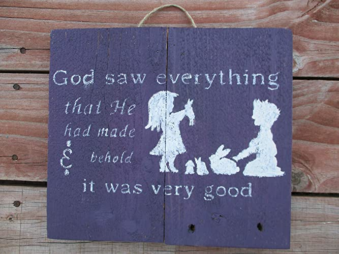 Amazon com: Vintage look GOD SAW EVERYTHING THAT HE HAD MADE
