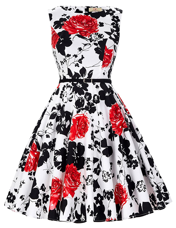 GRACE KARIN HQ0003 50s Rockabilly Mujer Petticoat Perchero de Retazos Retro Rodillera de Largo Vestido Cl6086-37 XL