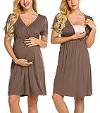 MAXMODA Womens Delivery/Labor/Maternity/Nursing Nightgown Pregnancy Gown for Hospital Breastfeeding Dress