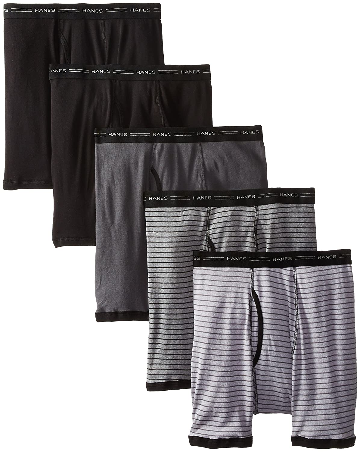 Hanes Men's 5-Pack Sports-Inspired Stripe Ringer Boxer Brief 7347Z5
