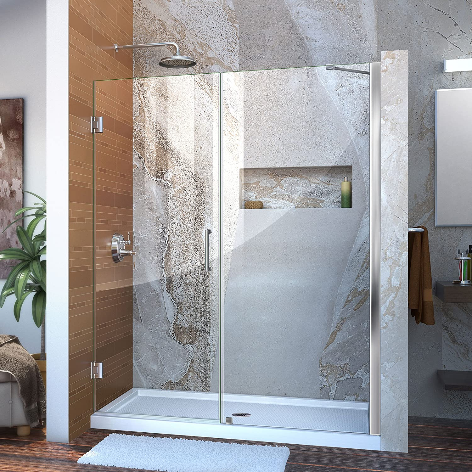 DreamLine Unidoor 57-58 in. W x 72 in. H Frameless Hinged Shower Door with Support Arm in Chrome, SHDR-20577210-01