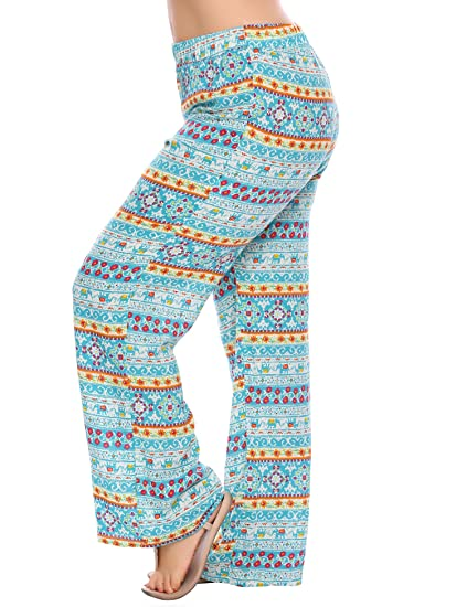 5c5ddd87543 Zeagoo Women's Plus Size Wide Leg High Elastic Waist Pants Flora Printed  Boho Palazzo Pants