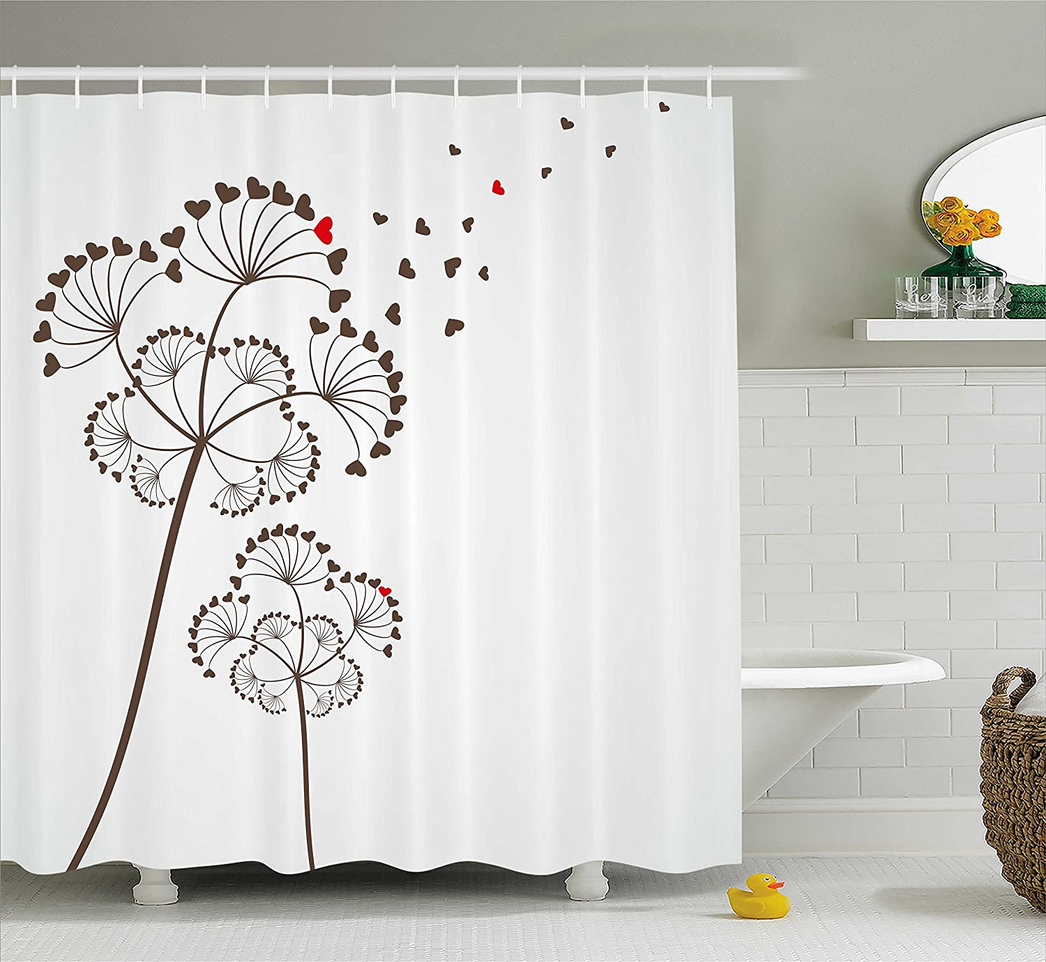Ambesonne Valentine Shower Curtain Stylized Delicate Dandelions Heart Shaped Petals Romantic In Love Theme Fabric Bathroom Decor Set With Hooks