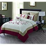 King Size Comforter Set in Red Embroidered Cherry Blossom 7 Pc Set w/ 2 Decorative Pillows
