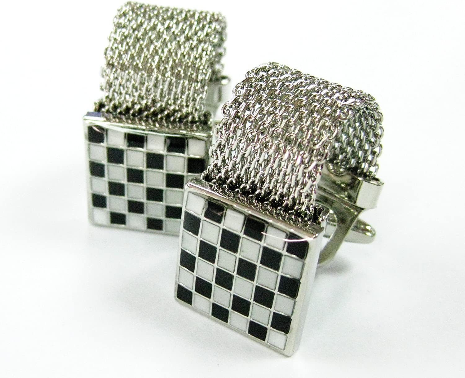 Tailor B Wrap Around Stainless Steel Chain Cufflinks Black and White Checkers Cuff Links