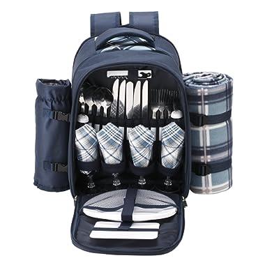 VonShef - 4 Person Blue Tartan Picnic Backpack Bag with Cooler Compartment, Detachable Bottle/Wine Holder, Fleece Blanket, Flatware and Plates