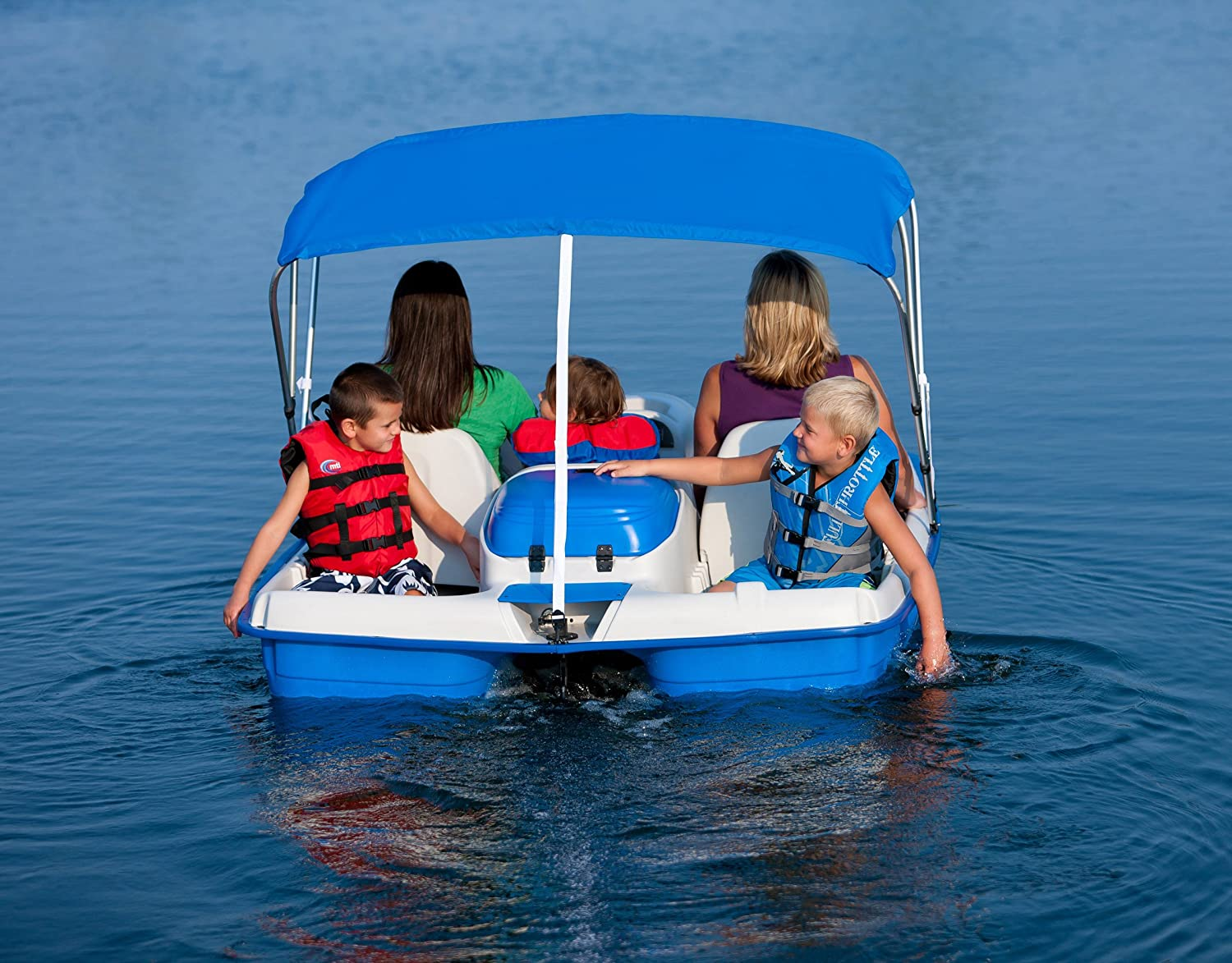 Amazon.com  Sun Dolphin Water Wheeler Electric ASL 5 Person Pedal Boat with Canopy (Blue)  Sports Fan Canopies  Sports u0026 Outdoors & Amazon.com : Sun Dolphin Water Wheeler Electric ASL 5 Person Pedal ...