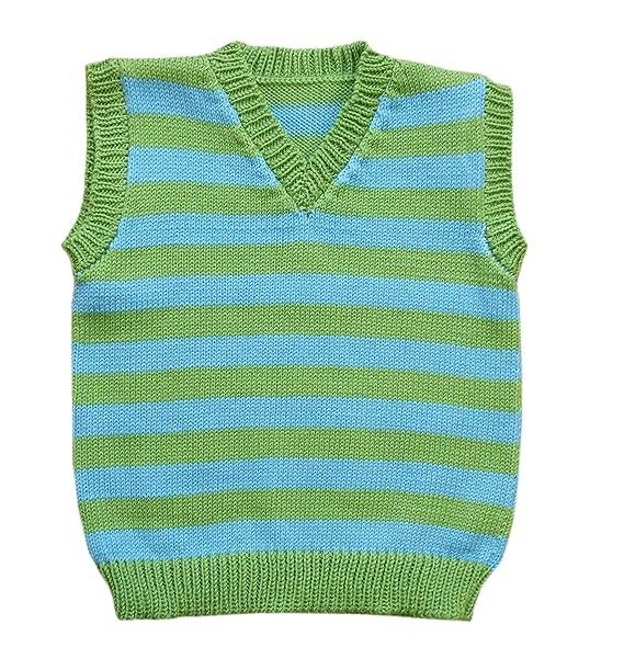 100% Merino Wool Baby Vest Children Knitted Sweater Sleeveless Striped (6 12 Mo, Green Aqua Blue)