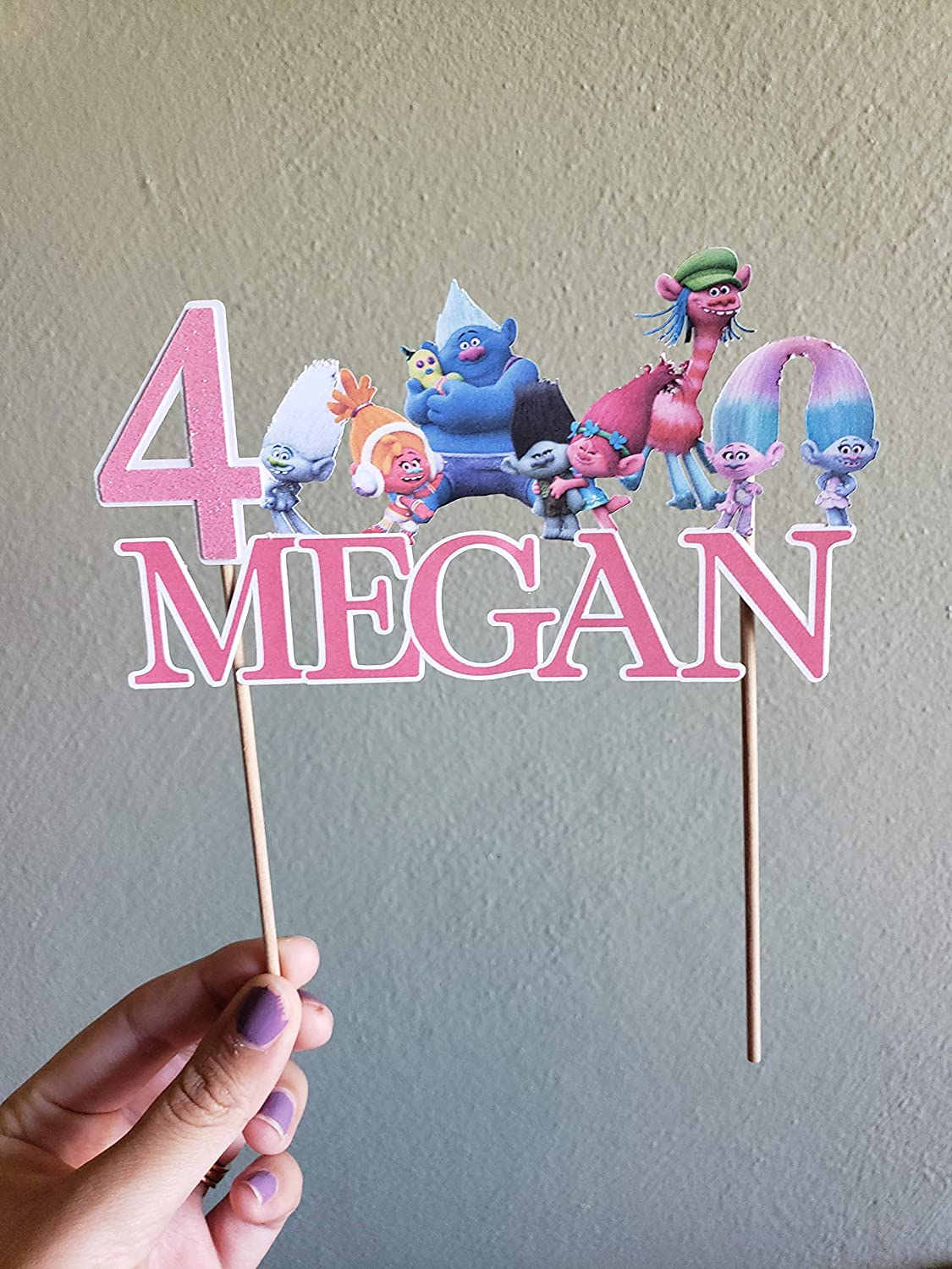 Trolls cake topper with glitter number