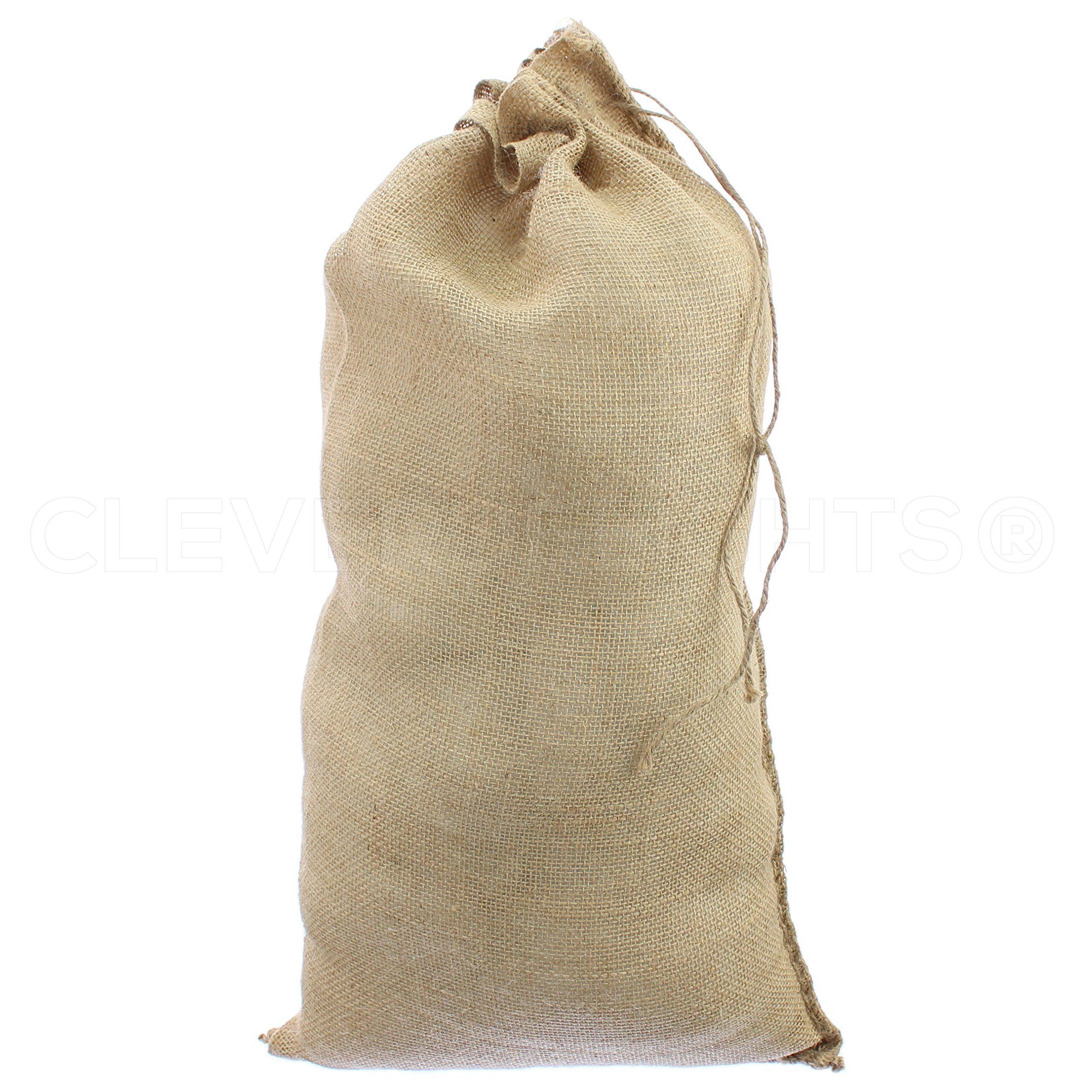 CleverDelights 14'' x 26'' Burlap Bags with Natural Jute Drawstring - 20 Pack - Large Burlap Pouch Gunny Sack Bag - 14x26 inch