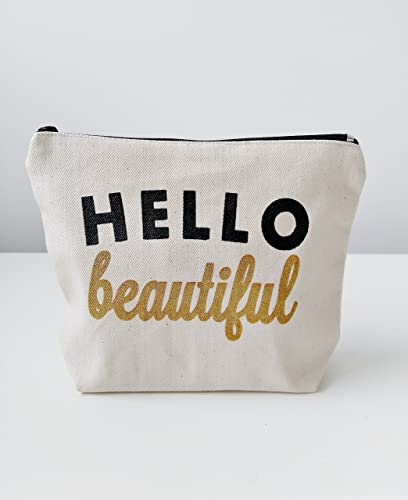 Very best Amazon.com: Hello Beautiful Canvas Makeup Bag Makeup Pouch Gift  QM89