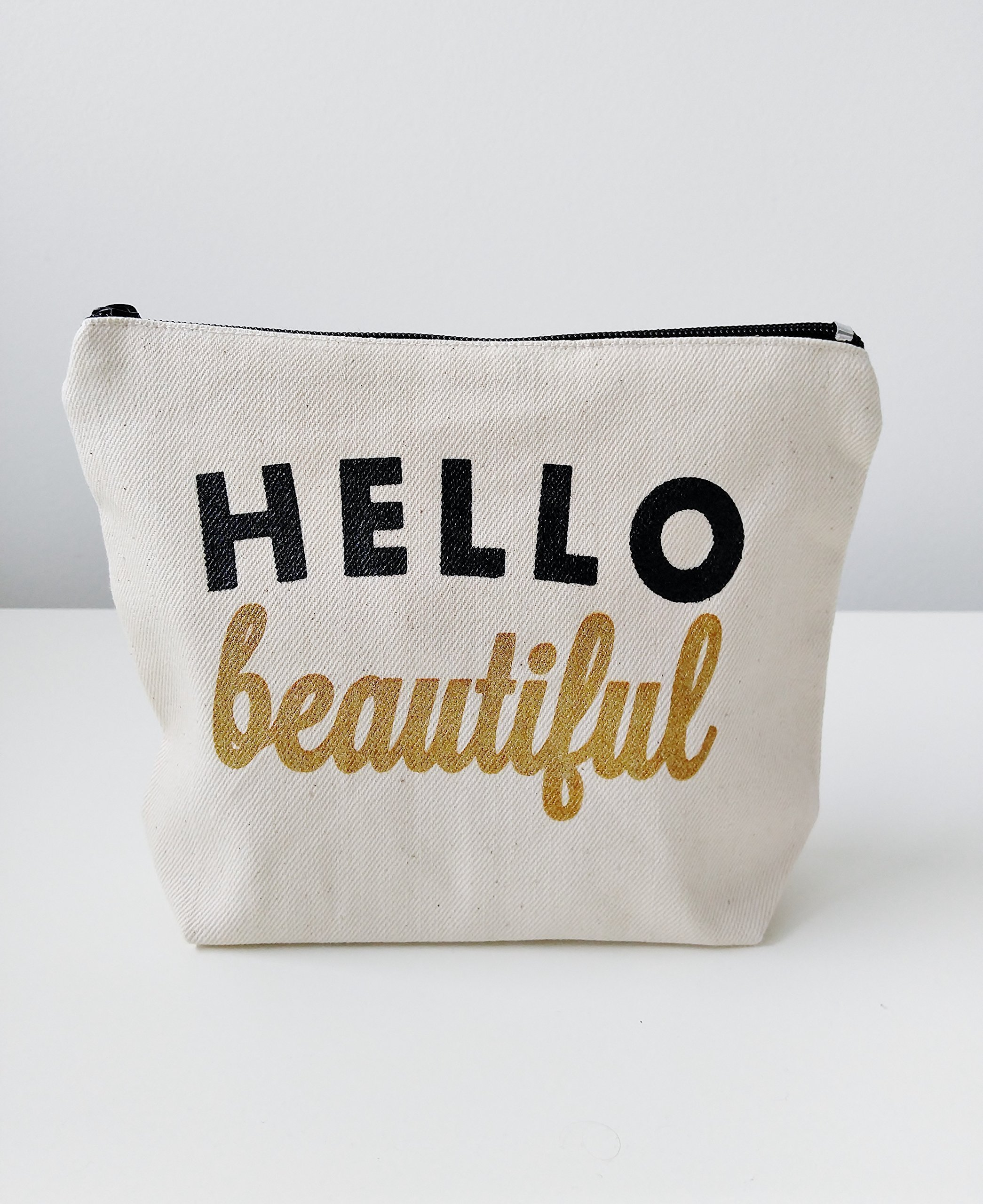 Hello Beautiful Canvas Makeup Bag Makeup Pouch Gift for Her Birthday Gift Bridesmaid Gift Canvas Pouch Cosmetic Pouch Cosmetic Bag Makeup Organizer Bridesmaid Pouch