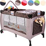 KIDUKU® Baby bed travel cot crib portable child bed folding bed bedside cot playpen, second level for infants/babies, 6 different colours, height-adjustable (Brown)