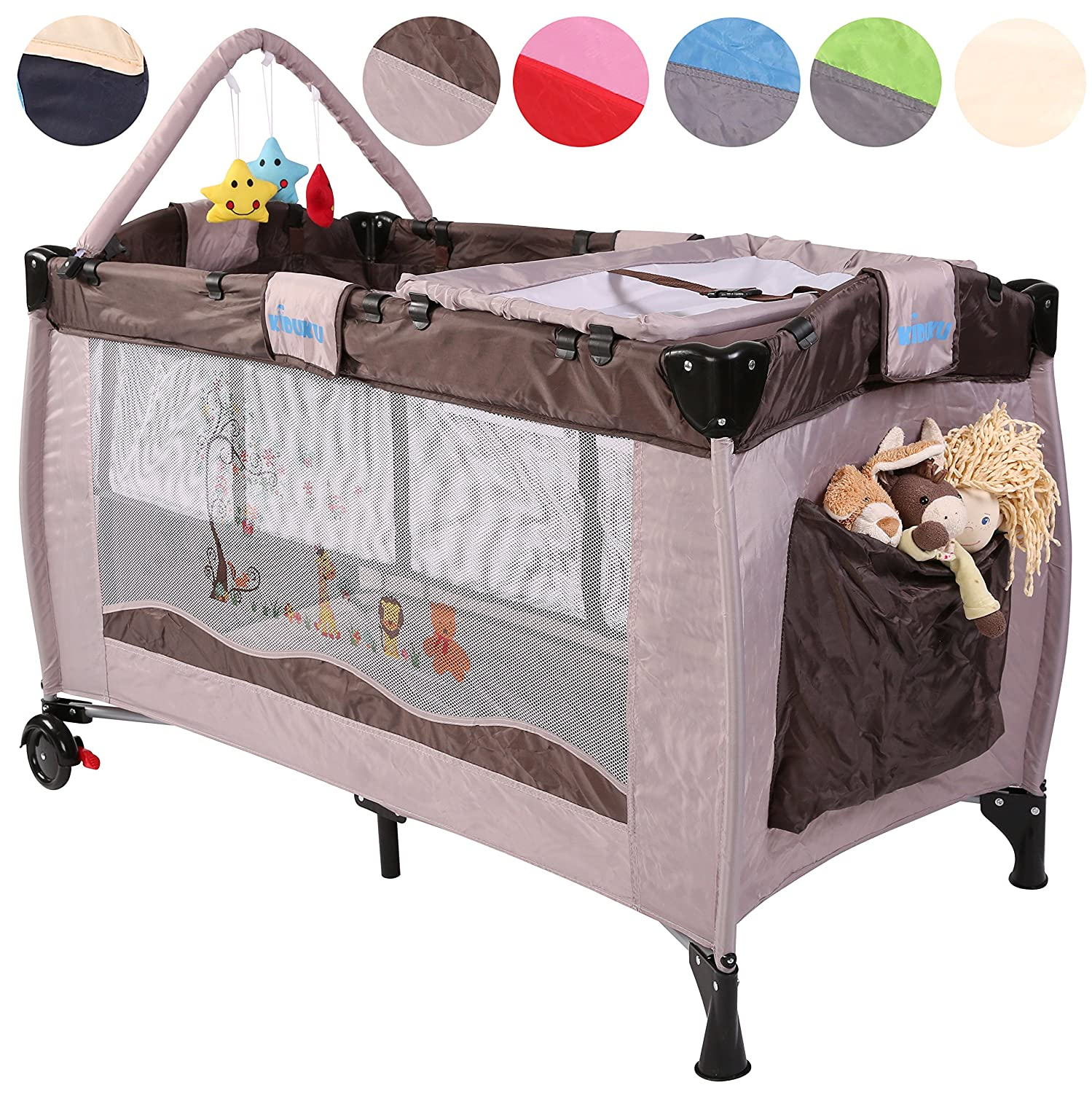 KIDUKU® Baby bed travel cot crib portable child bed folding bed bedside cot playpen, second level for infants/babies, 6 different colours, height-adjustable (Blue) DWD-Company