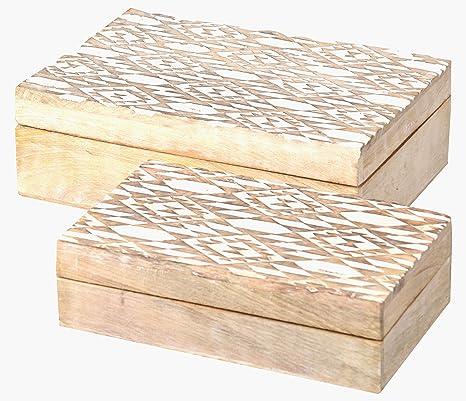 Saaga Juego de 2 cajas de madera cajas de recuerdo de cajas decorativas cajas de regalo