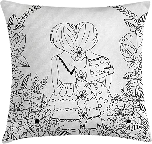 - Amazon.com: Ambesonne Hipster Throw Pillow Cushion Cover, Girlfriends With  Conjoined Ponytails Hugging Friendship Coloring Book Style Design,  Decorative Square Accent Pillow Case, 18