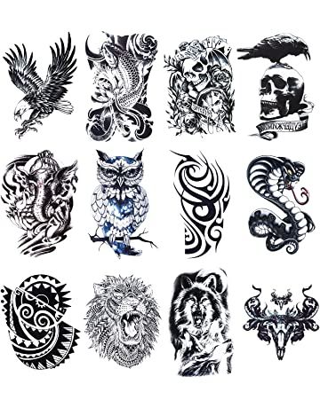 3fc298fca 12 Sheets Temporary Tattoos Stickers, Fake Body Arm Chest Shoulder Tattoos  for Men