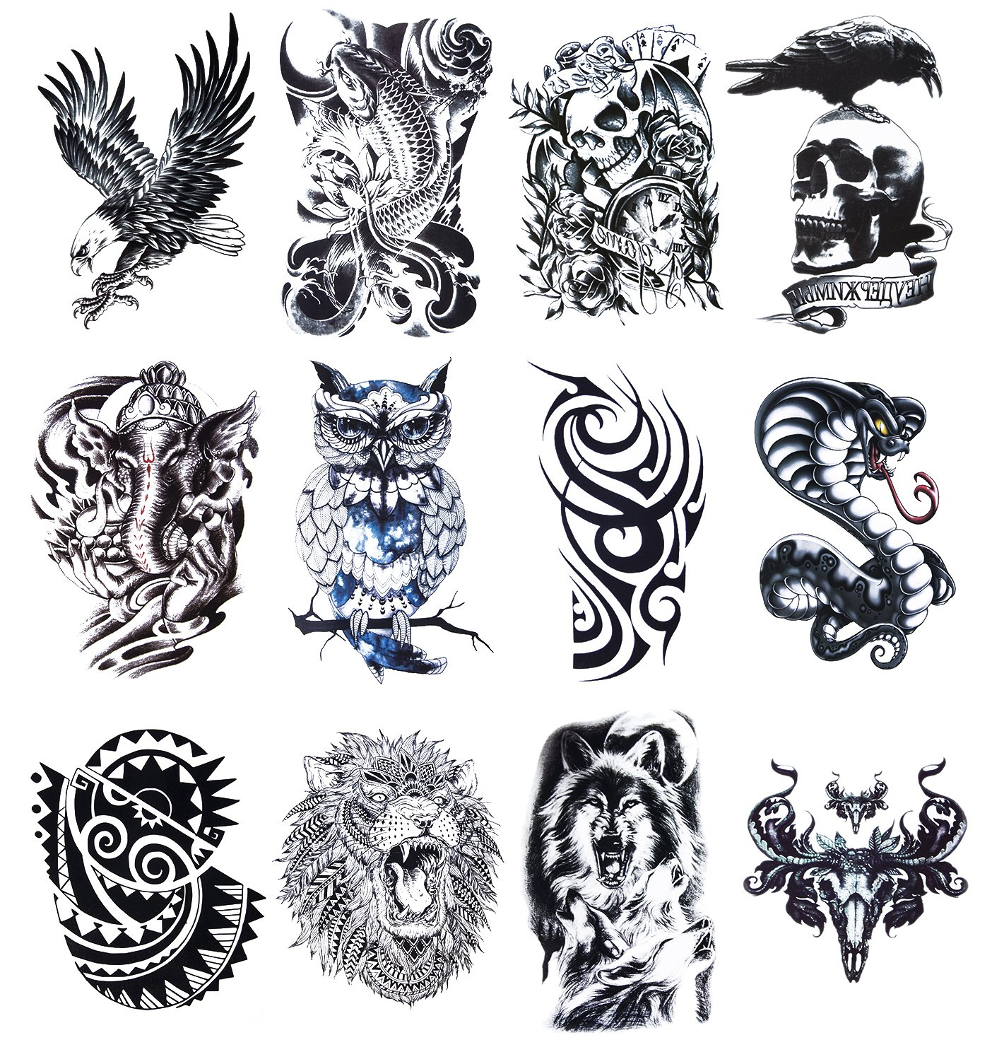 Amazon com 12 sheets temporary tattoos stickers fake body arm chest shoulder tattoos for men beauty