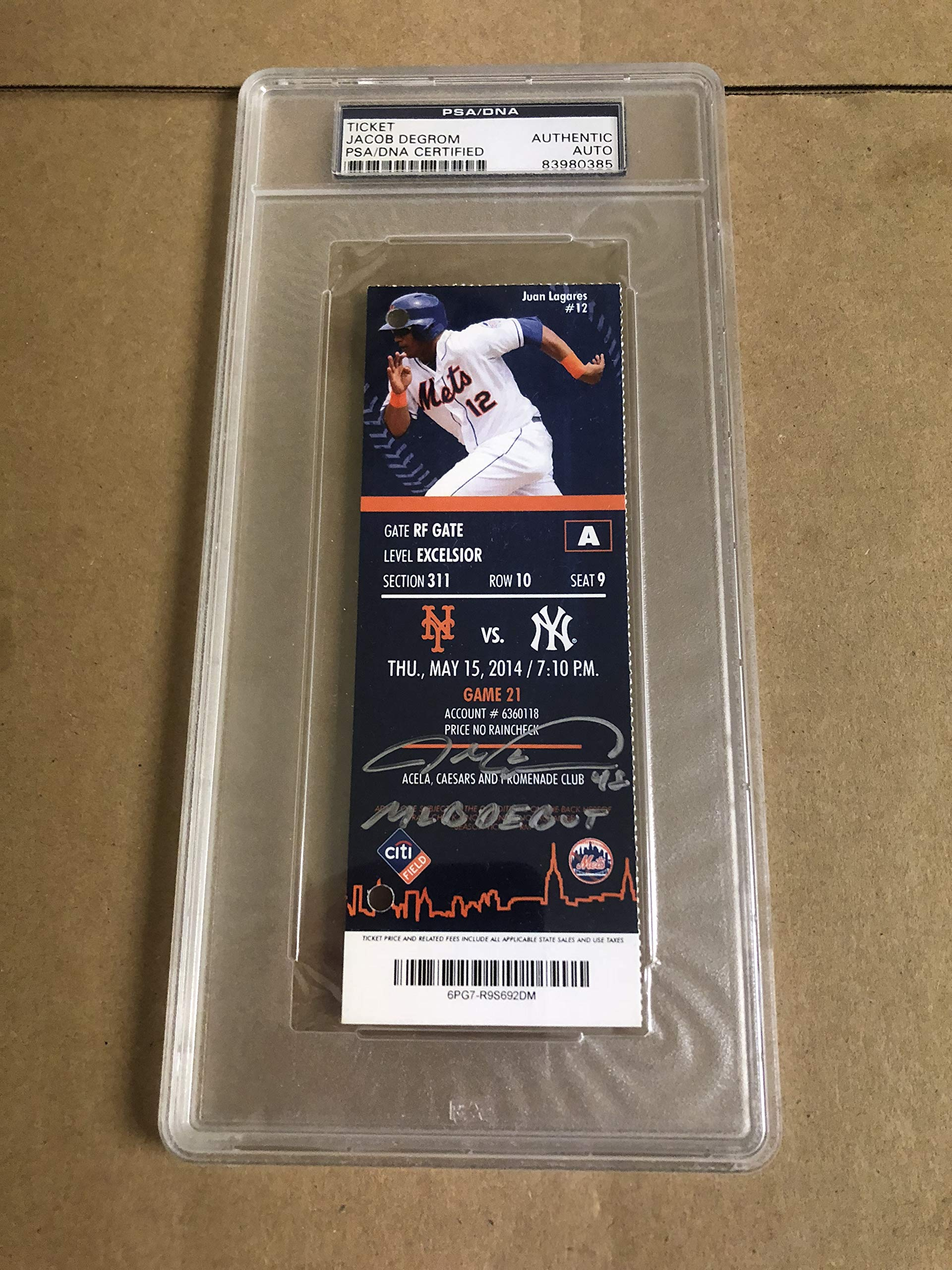 Autographed Jacob Degrom major league debut ticket insc MLB Debut PSA certified signed