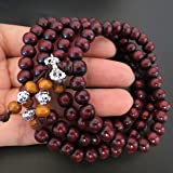 8mm*108 Buddha Red Ebony Wood Prayer Beads Tibet Buddhist Prayer Mala