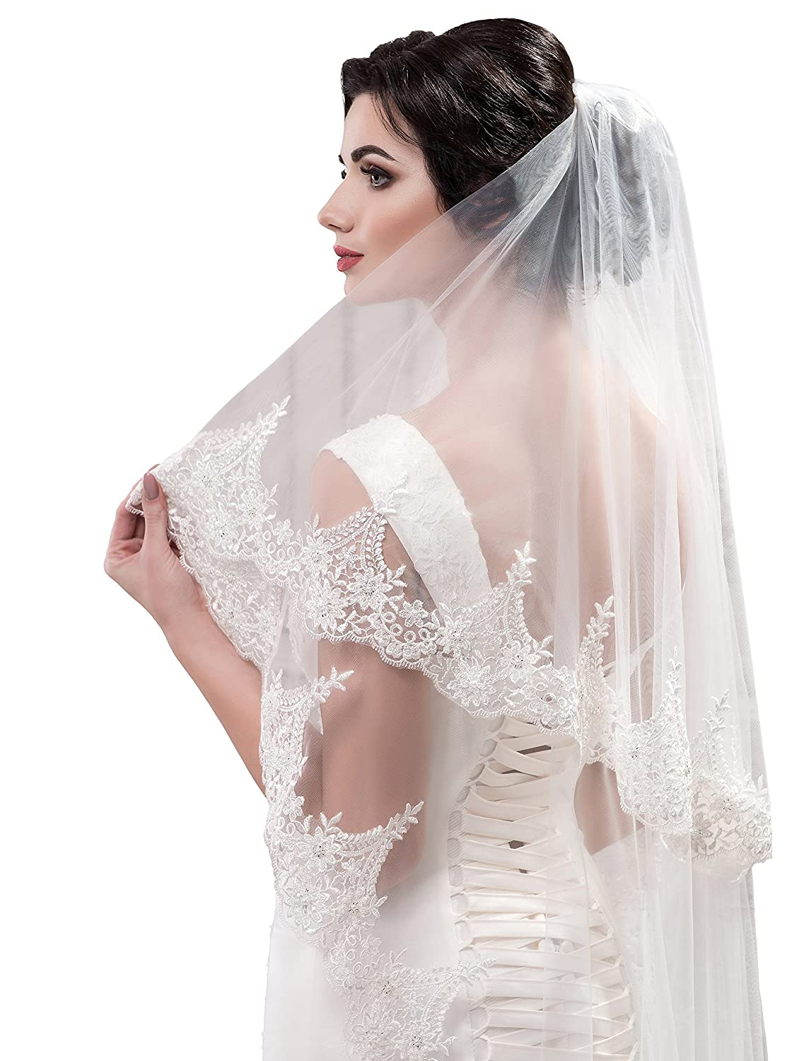 Bridal long chapel wedding Veil with comb Molly from NYC Bride collection ivory